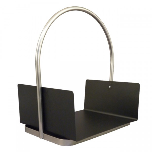 B-Ware HTT Holzträger / Holzkorb Stahl Schwarz/Nickel