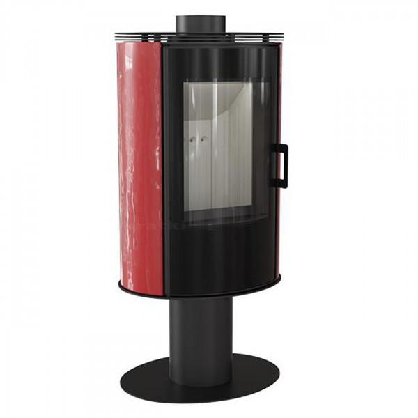 Koza AB/S/N/O/Glass drehbarer Kaminofen 8kW Rote Kacheln