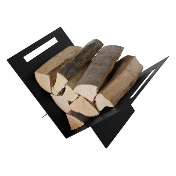 X-förmige Schwarze Holzablage / Holzkorb aus Stahl