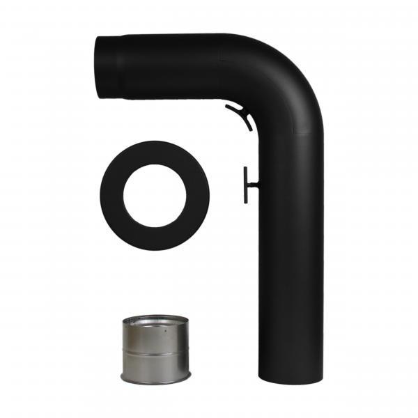 Rauchrohrset 90° gezogener Bogen 120/130mm Ø Wandrosette Mauermuffe