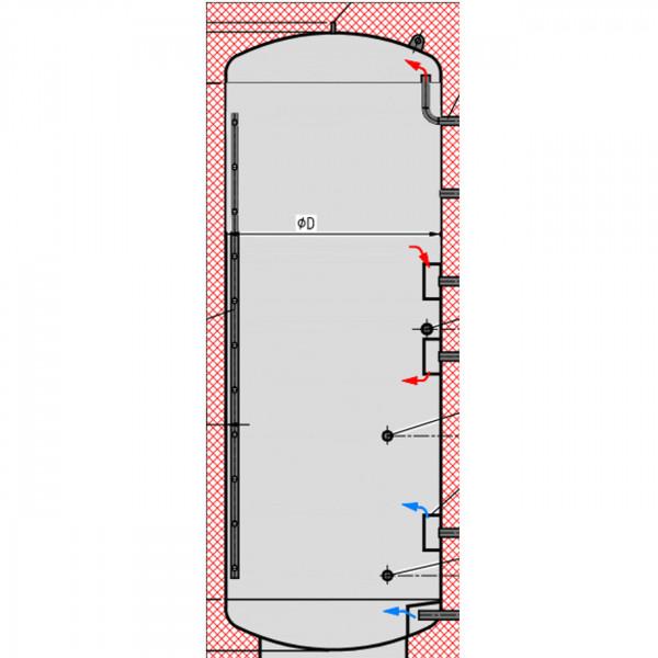 Pufferspeicher P0 mit 800L ohne Wärmetauscher