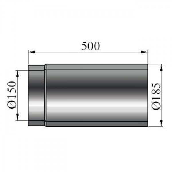 Rauchrohr doppelwandig Länge 500 mm - 150 mm Ø