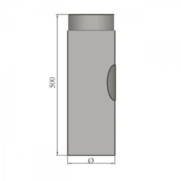 Verlängerungsrohr 500 mm lang mit Reinigungsöffnung 120 mm Ø