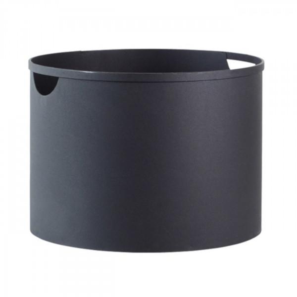Holzeimer / Holzkorb in Schwarz aus Stahl