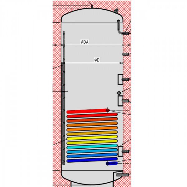Pufferspeicher P1 500L mit Solar Wärmetauscher