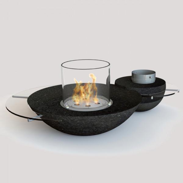GlammFire Premium Duo Biokamin / Ethanolkamin aus schwarzem Granit