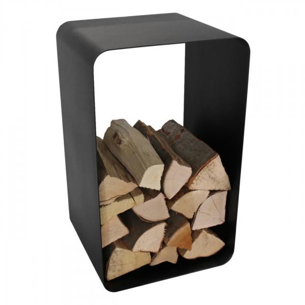 O-förmige Schwarze Holzablage / Holzkorb aus Stahl