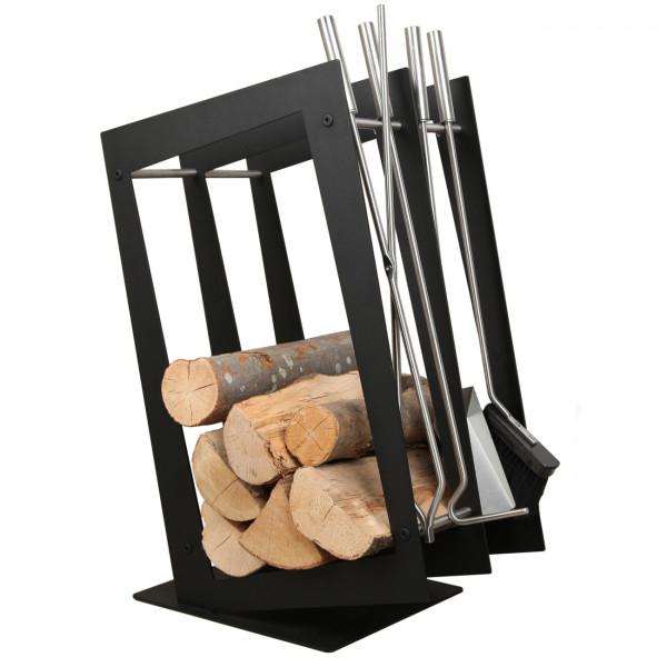 Designer Rechteckige Holzablage mit Kaminbesteck