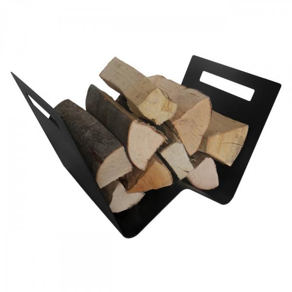 W-förmige Schwarze Holzablage / Holzkorb aus Stahl