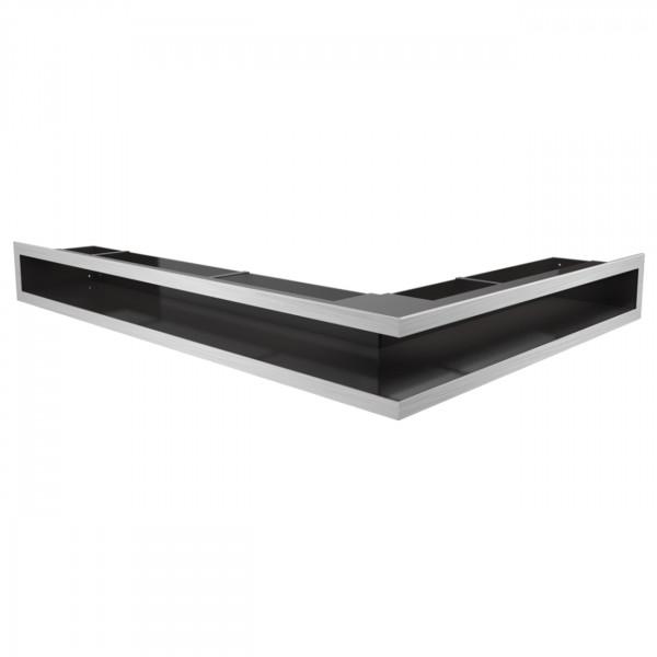 Eckluftleiste LUFT Links 77 x 55 cm in geschliffenem Stahl