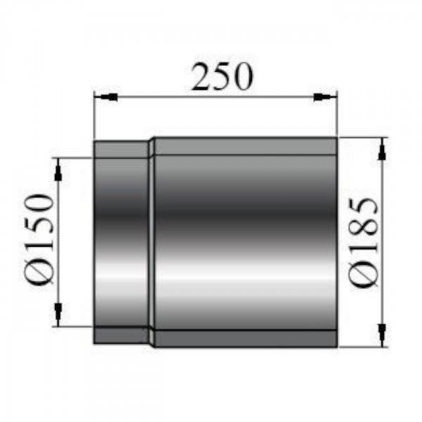 Rauchrohr doppelwandig Länge 250 mm - 150 mm Ø