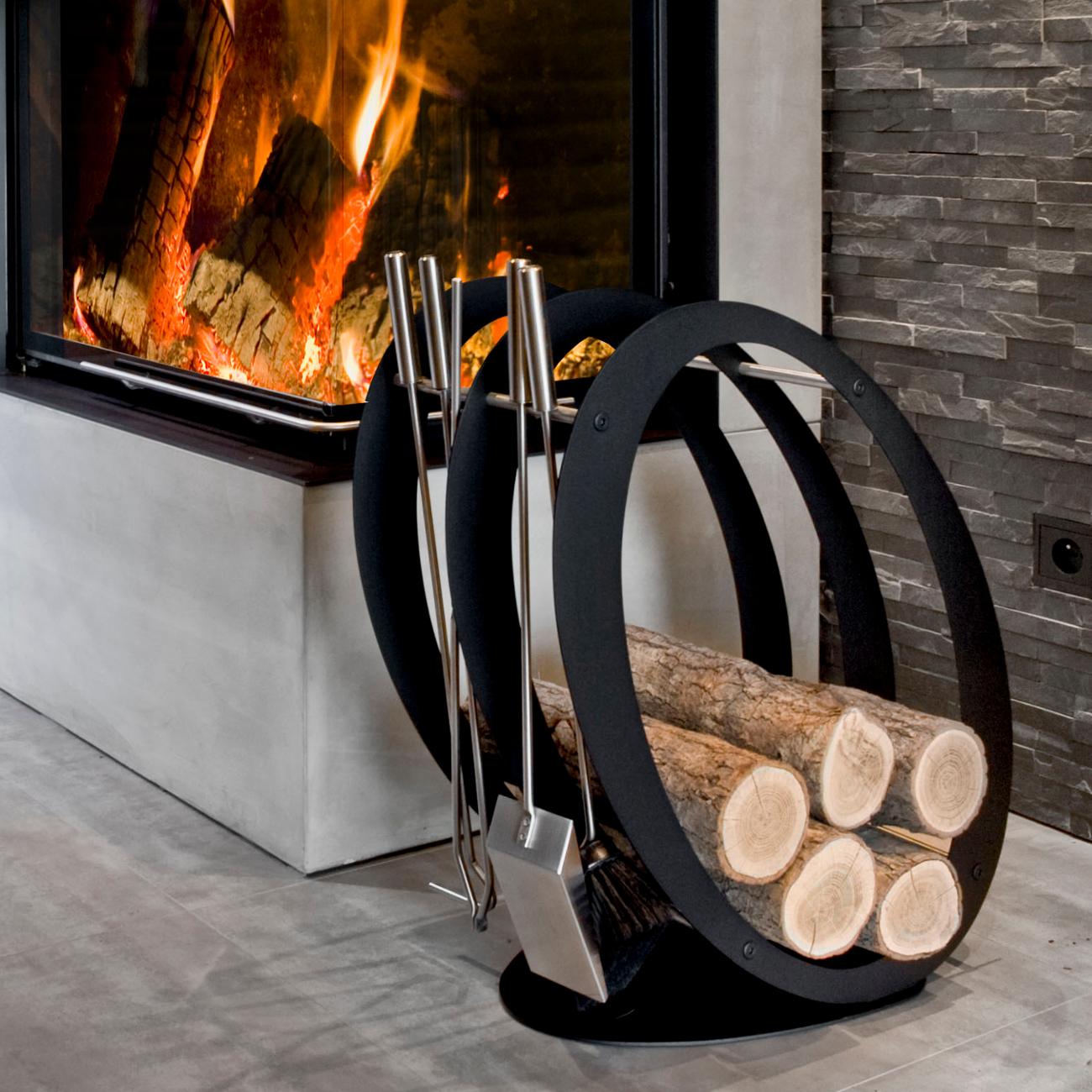 Designer Ovale Holzablage Mit Kaminbesteck Kaminbestecke Kaminzubehor Derofenfuchs Kamin Und Energiestudio