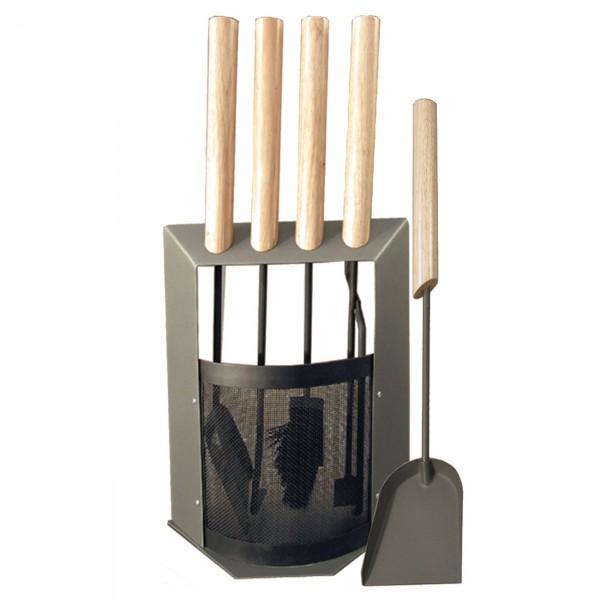 B-Ware HTT840 Kaminbesteckset Grau mit Holzgriffen 5 teilig