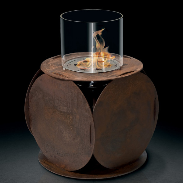GlammFire Lira Biokamin / Bioethanol Kamin aus Corten Stahl