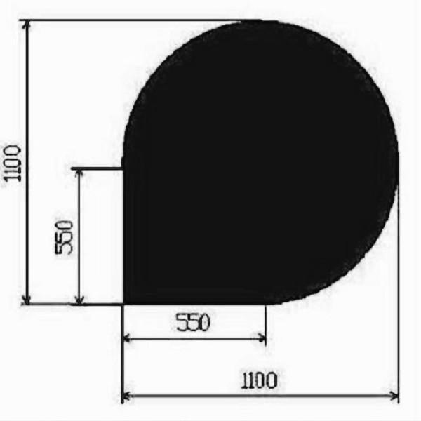 Metallbodenplatte Tropfenform 1100x1100 mm in Schwarz oder Gussgrau
