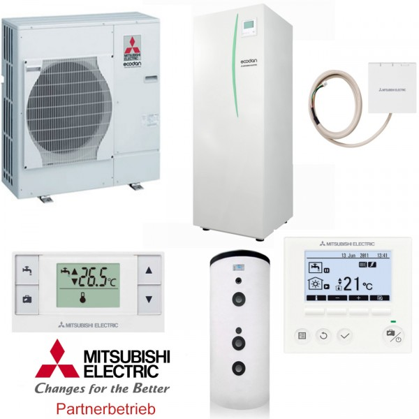 Mitsubishi Eco Inverter Heizen/Kühlen 4 kW Wärmepumpen Set 714