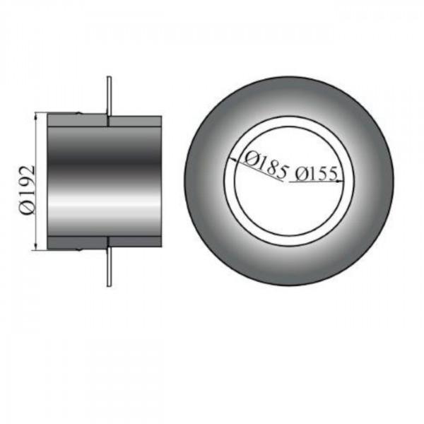 Rosette mit Wandfutter/Mauermuffe für Isolierte Rohre - 50mm Rand - 150mm Ø