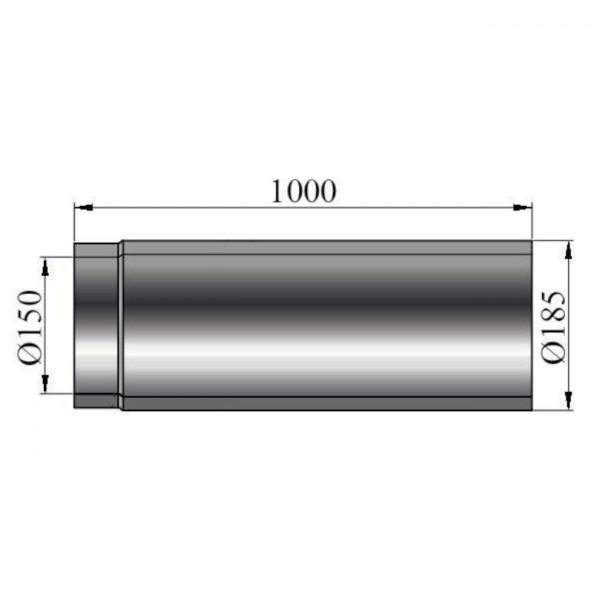 Rauchrohr doppelwandig Länge 1000 mm - 150 mm Ø