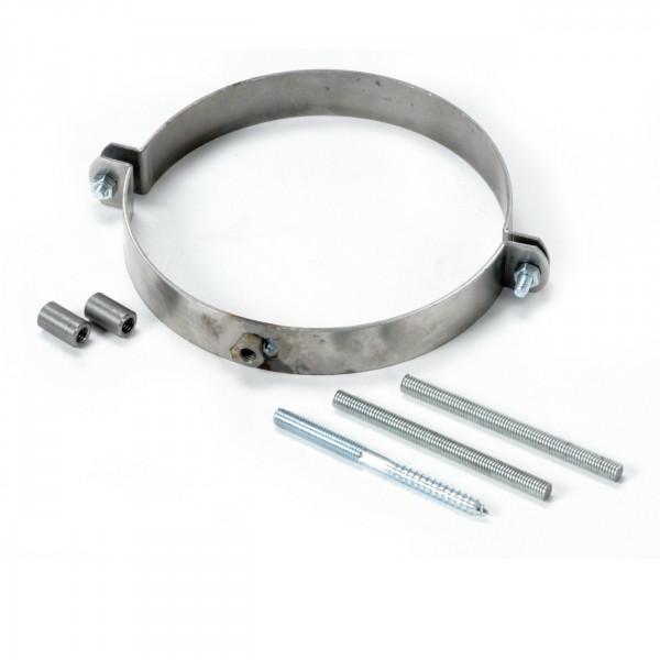 Rohrhalterset / Schelle mit Schrauben und Gewindestangen - 150 mm Ø