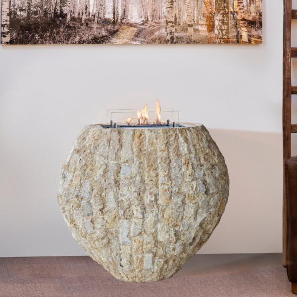 Shigo Naturstein Beige Bioethanol Kamin mit Keramik Brenner