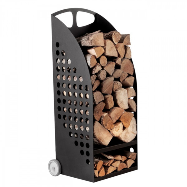 Holzwagen Stahl mit Extra Fach für Anmachholz Schwarz