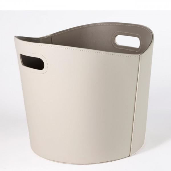 Holzkorb imitiertes Leder in Weiss/Beige - Ø 39 cm