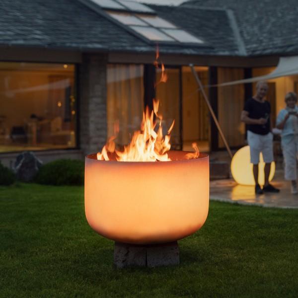QFlame Set 1 Quarzglas Feuerschale Gartenkamin