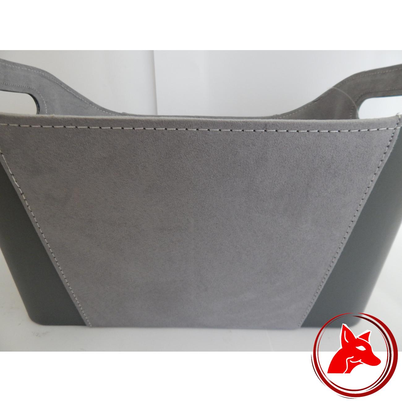 2 Griffe Termatech Holzkorb Grau aus imitierten Leder und Wildleder