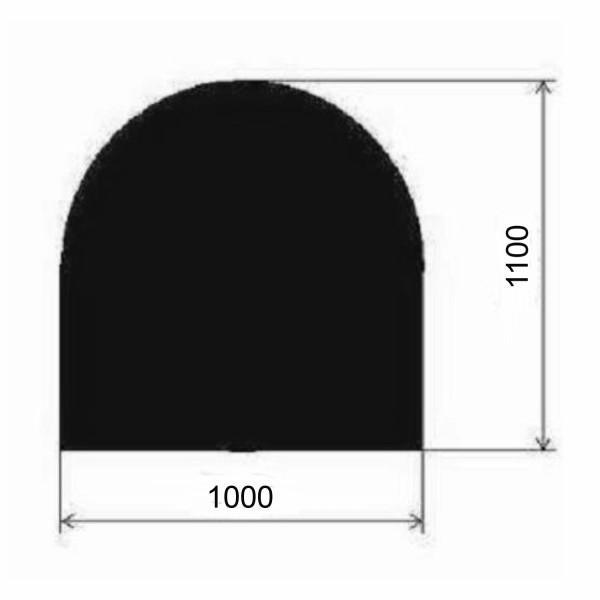 Metallbodenplatte Halbrund 1000x1100 mm in Schwarz oder Gussgrau
