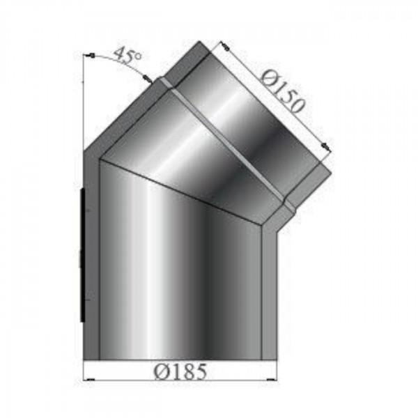 Isolierter Rauchrohrbogen 45° Reinigungsöffnung - 150 mm Ø