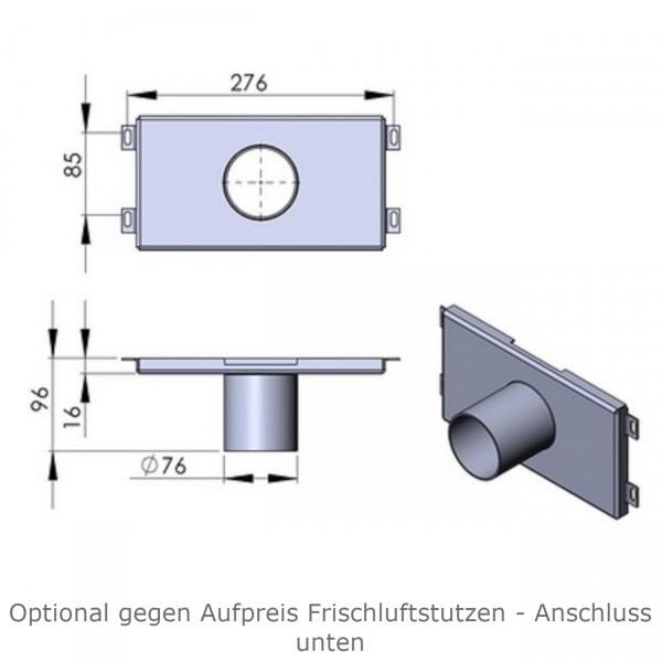 Luftzufuhr / Frischluft stutzen TT60+60W nach unten Ø80 Senkrecht