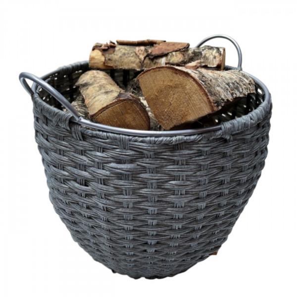 Holzkorb 39,0 cm Ø aus Kunststoff geflochten in Grau