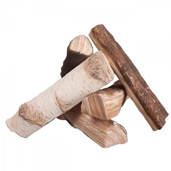 Keramik Holzstücke für Biokamine 5 teilig - Mix