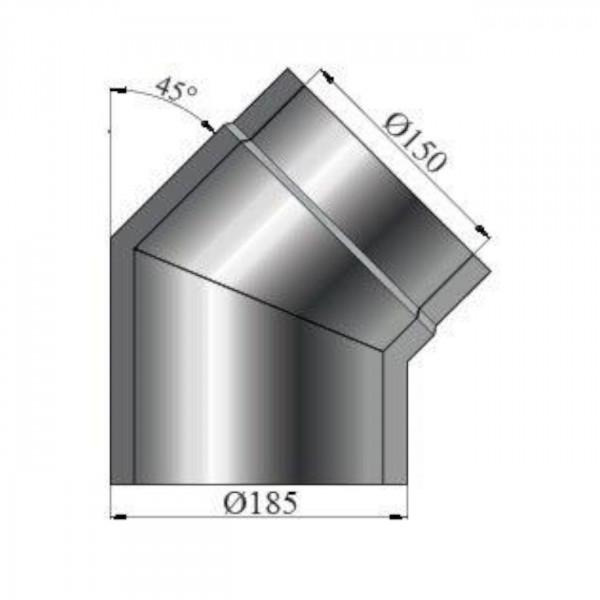 Isolierter Rauchrohrbogen 45° - 150 mm Ø