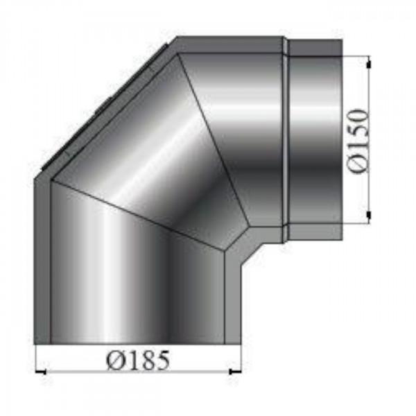Isolierter Rauchrohrbogen 90° Reinigungsöffnung - 150 mm Ø