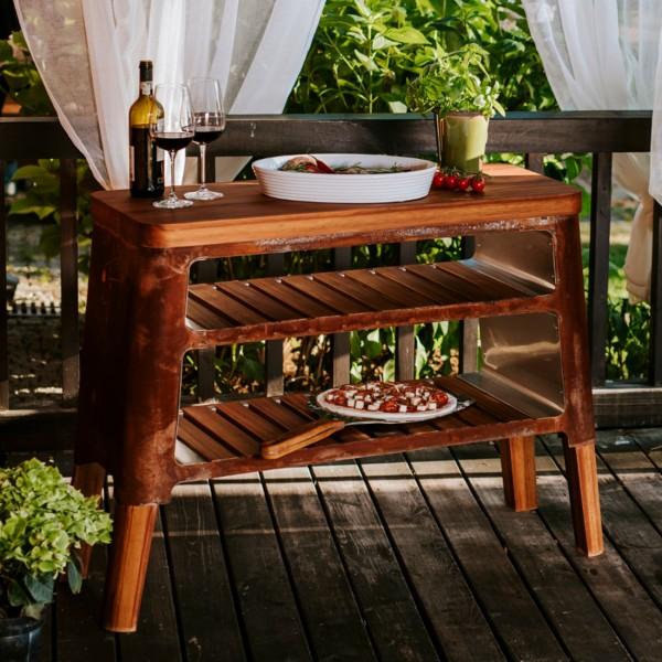 Masuria M-Klassisch Teak Holz Grill-Tisch / Beistelltisch Cortenstahl