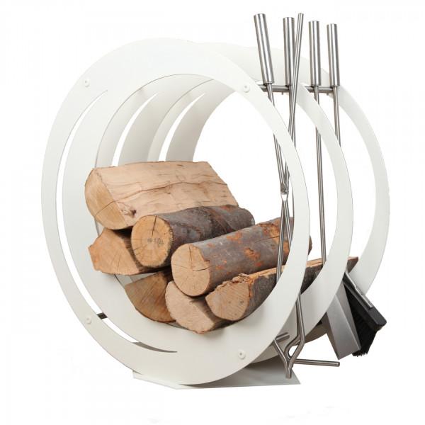 Designer Runde Holzablage mit Kaminbesteck