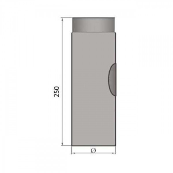 Verlängerungsrohr 250 mm lang mit Reinigungsöffnung 150 mm Ø