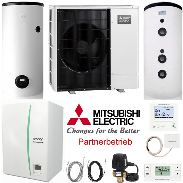 Mitsubishi Heizungs-Set 431 Power Inverter 7kW Wärmepumpe Hydromodul