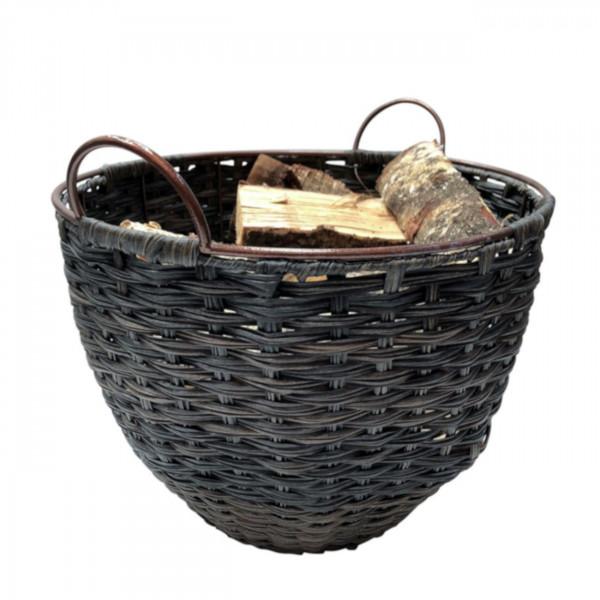 Holzkorb 39,0 cm Ø aus Kunststoff geflochten in Dunkelbraun