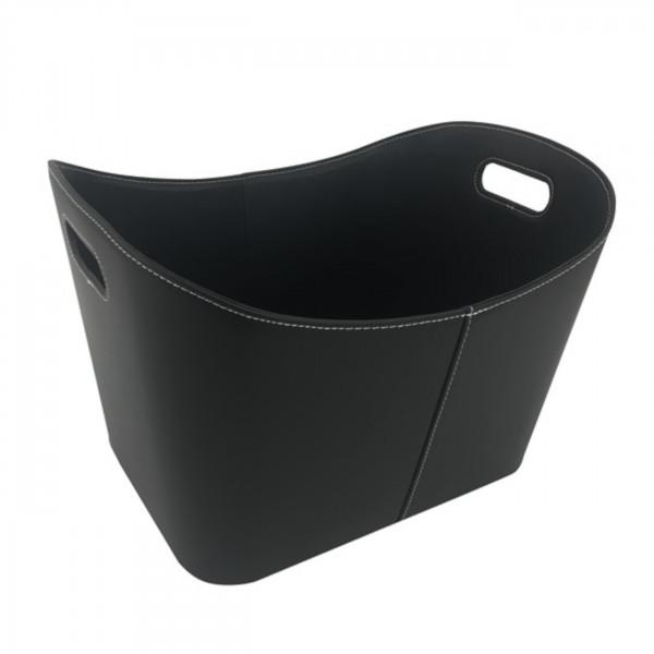 Holzkorb Schwarz aus imitierten Leder