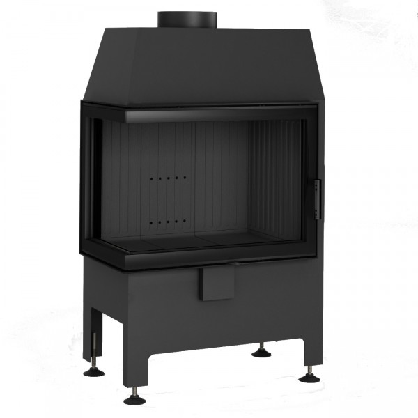 Heatro 55L Black Eck-Kamineinsatz 9kW linksverglast