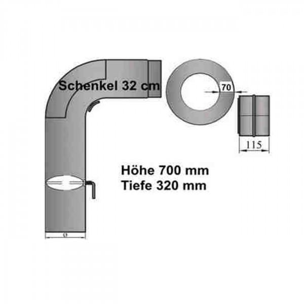 Rauchrohrset 90° gezogener Bogen 150 mm Ø mit kurzem Schenkel
