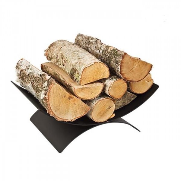 Ovale Holzablage / Holzkorb Schwarz aus Stahl