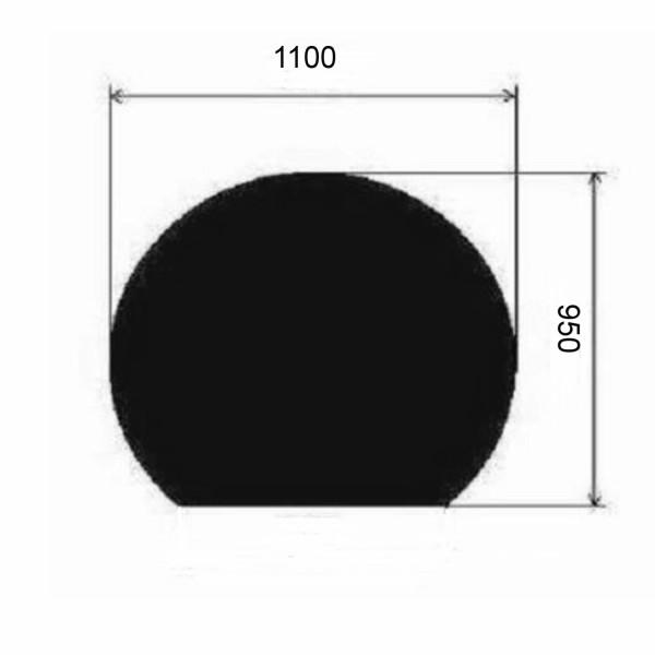 Metallbodenplatte Kreisabschnitt 1100x950 mm in Schwarz oder Gussgrau