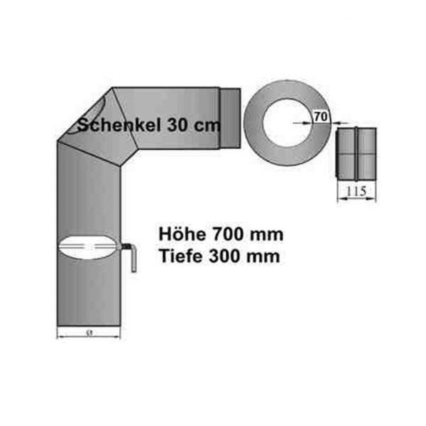 Rauchrohrset 90° zweimal abgewinkelt 150mm Ø mit kurzen Schenkel