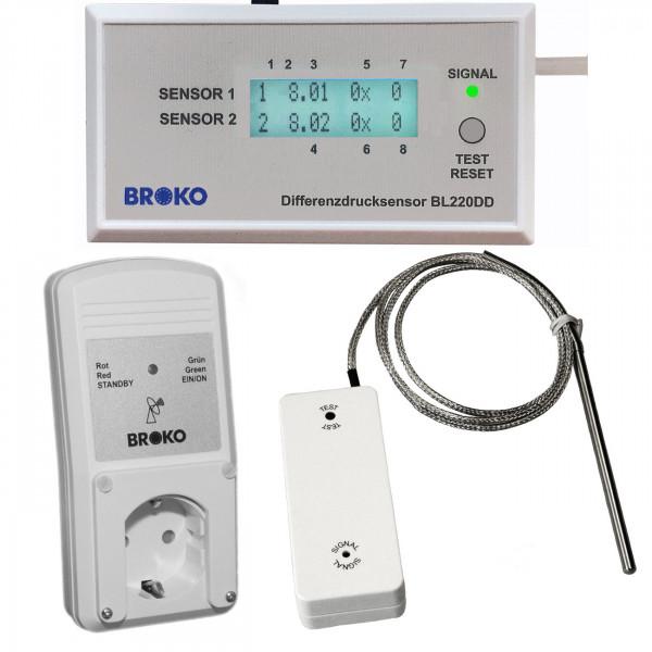 Broko Funk-Differenzdrucksensor mit Abschaltung Aufputz DIBt