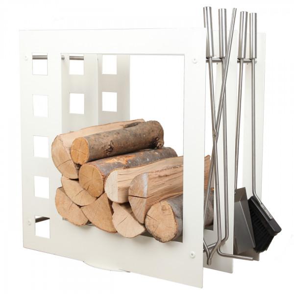 Designer Quadratische Holzablage mit Kaminbesteck