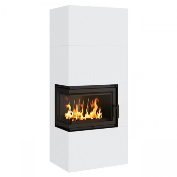 Simple Box Kamin Bausatz Weiß 8kW Links