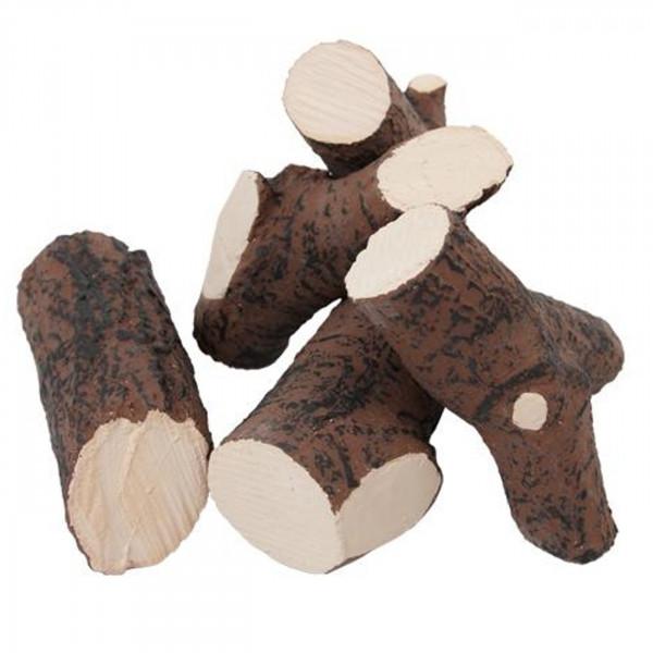 Keramik Holzstücke für Biokamine 5 teilig - Braun